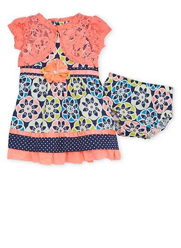 Baby Girl Dress with Shrug and Bloomers Set,CORAL,large