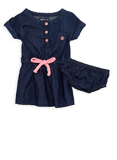 Baby Girl Limited Too Denim Dress and Bloomers,DENIM,large