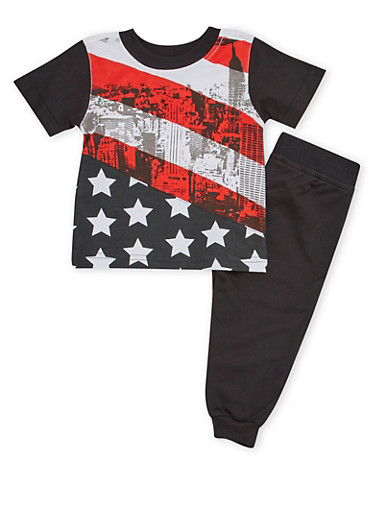 Baby Boy Joggers and T Shirt with American Flag Print,BLACK,large