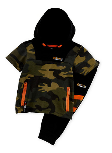 Baby Boy Enyce Hooded Zip Top and Joggers with Color Block Camo Print,BLACK,large
