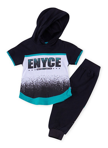 Baby Boy Enyce Hooded Tee and Joggers Set,BLACK,large