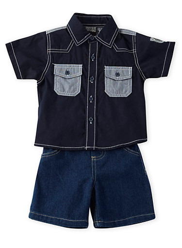 Baby Boy Button Front Shirt with Denim Shorts Set,NAVY,large