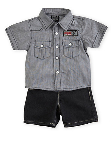 Baby Boy Button Front Top and Jeans Set,BLACK,large