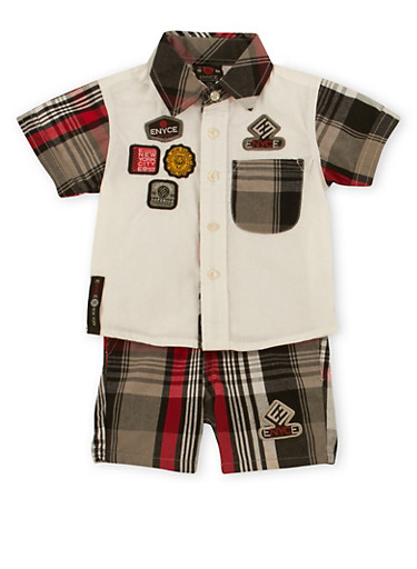 Baby Boy Enyce Patch Shirt and Plaid Shorts Set,WHITE,large