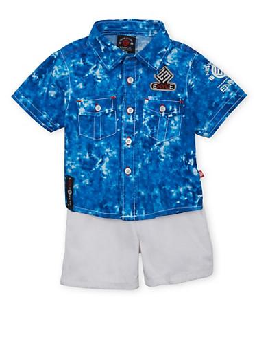 Baby Boy Enyce Tie Dye Button Down Shirt and Shorts Set,WHITE,large
