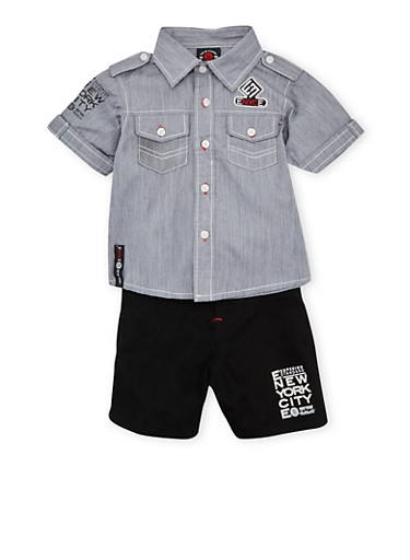 Baby Boy Enyce Button Front Chambray Shirt with Shorts and Canvas Belt Set,BLACK,large