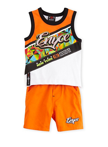 Baby Boy Enyce Graphic Tank Top and Shorts with Geo Print,ORANGE,large