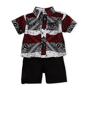 Baby Boy Aztec Print Button Front Shirt,BLACK,large