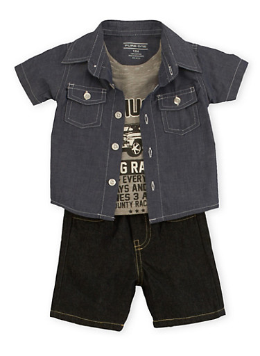 Baby Boy Button Front Shirt and Graphic T-Shirt with Denim Shorts Set,CHAMBRAY,large