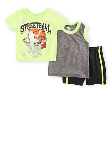 Baby Boy Three Piece Set with Streetball Print,LIME,large