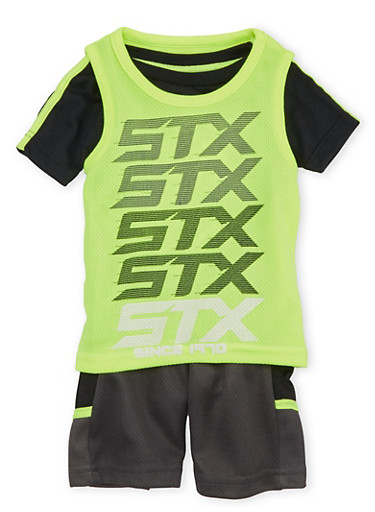 Baby Boy STX Three Piece Graphic Active Wear Set with Lacrosse Print,LIME,large