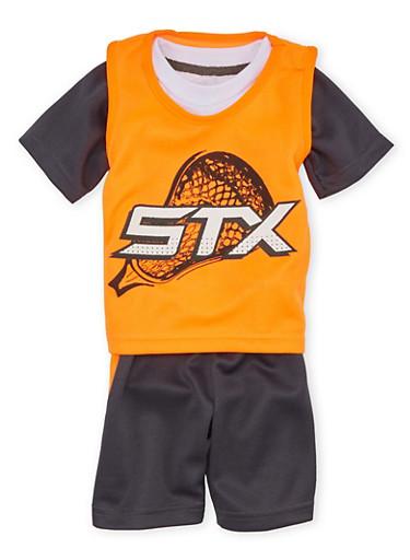Baby Boy STX Three Piece Set with Lacrosse Print,ORANGE,large