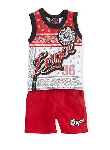Baby Boy Enyce Bandana Print Top with Shorts Set,RED,large