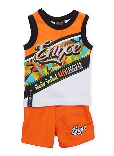 Baby Boy Enyce Logo Print Tank Top and Shorts with Belt,ORANGE,large