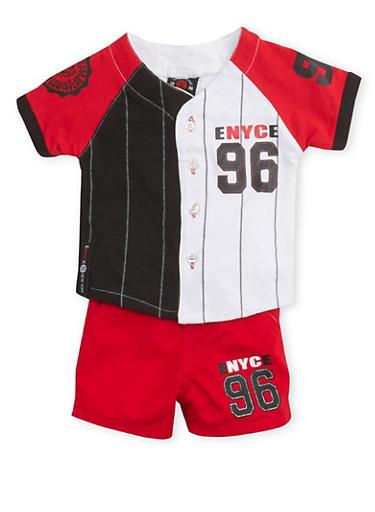 Baby Boy Enyce Baseball T Shirt and Shorts Set,RED,large