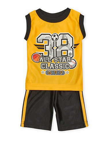 Baby Boy Athletic Tank Top and Shorts with 38 MVP Graphic,YELLOW,large