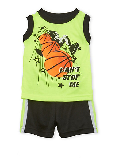 Baby Boy Basketball Graphic Top with Mesh Shorts Set,LIME,large