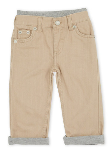 Baby Boy Levis Straight Leg Jeans with Knit Trim,KHAKI,large