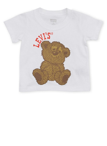 Baby Boy Levis Crew Neck T Shirt with Teddy Bear Print,WHITE,large