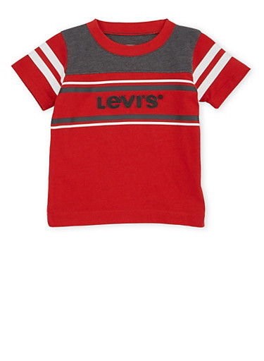 Baby Boy Levis T Shirt with Stripes and Logo Design,RED,large