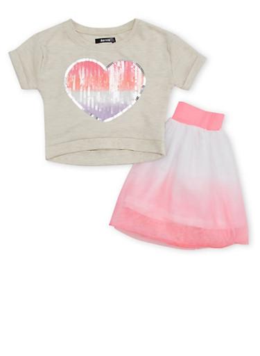 Baby Girl Sequin Heart Top and Dip Dye Tutu Skirt,FUCHSIA,large