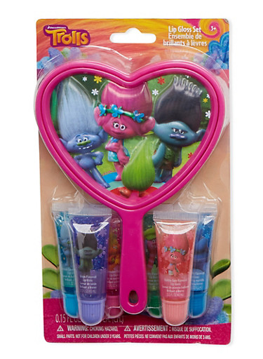 Trolls Mirror and Lip Gloss Set,MULTI COLOR,large