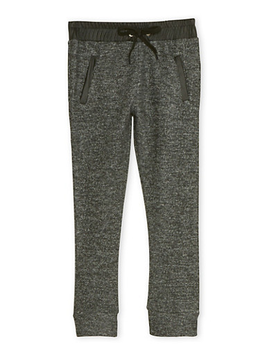 Girls 4-6x Marled Knit Joggers with Faux Leather Trim,BLACK,large