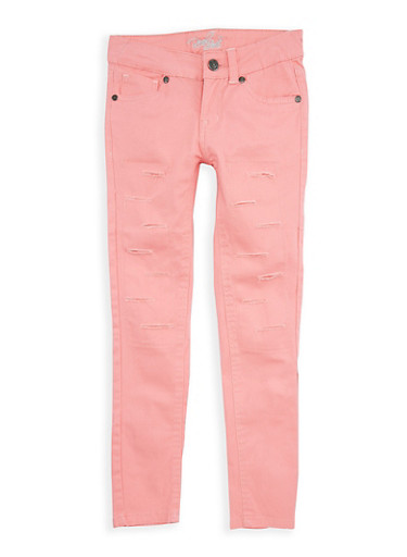 Girls 4-6x Coral Ripped Patch and Repair Pants,CORAL,large