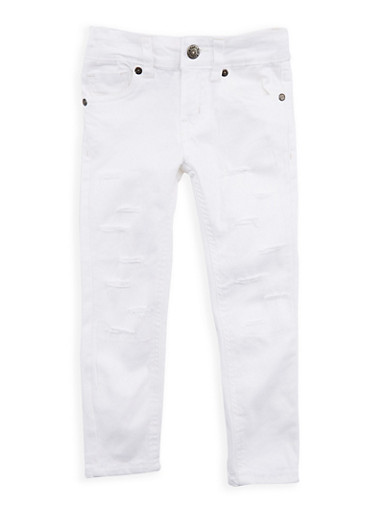 Girls 4-6x White Ripped Patch and Repair Pants,WHITE,large