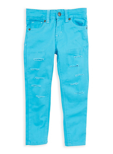 Girls 4-6x Turquoise Ripped Patch and Repair Pants,TURQUOISE,large