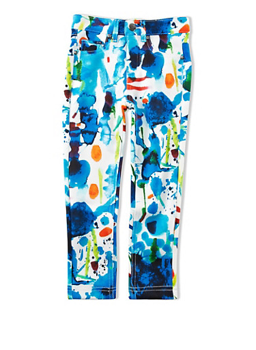 Girls 4-6x Watercolor Brush Stroke Ponte Pants,MULTI COLOR,large