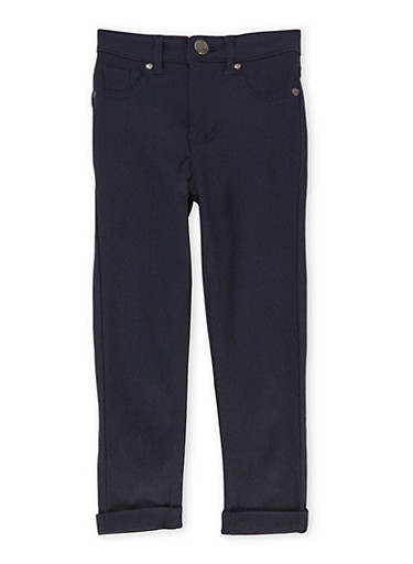 Girls 4-6x Jeggings with Fixed Cuffs,INDIGO,large