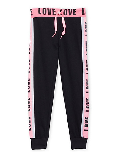 Girls 4-16 Joggers with Love Graphic,BLACK,large
