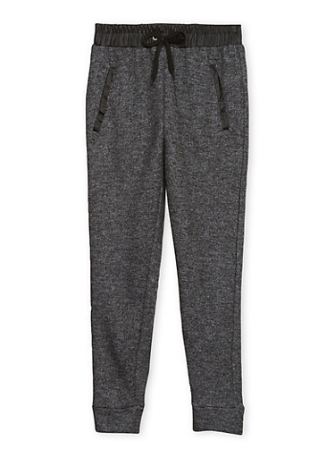Girls 7-16 Marled Knit Joggers with Faux Leather Trim,BLACK,large