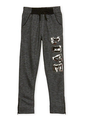 Girls 7-16 Zip Joggers with Sequin Love Print,BLACK,large