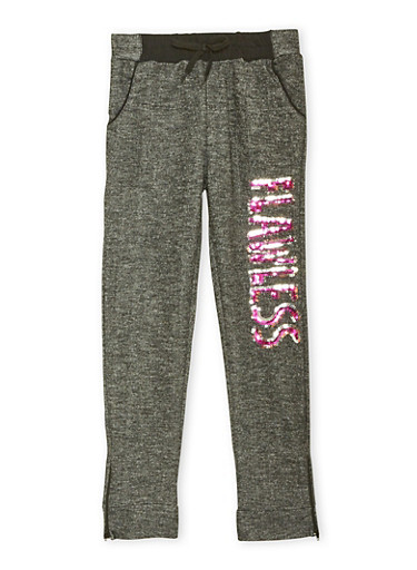 Girls 7-16 Marled Joggers with Flawless Graphic,FUCHSIA,large