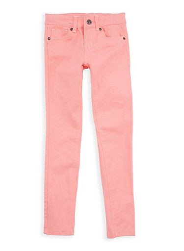 Girls 7-16 Coral Twill Skinny Pants,CORAL,large