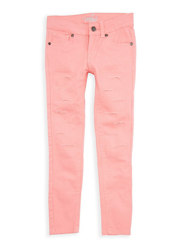 Girls 7-16 Coral Ripped Patch and Repair Pants,CORAL,large