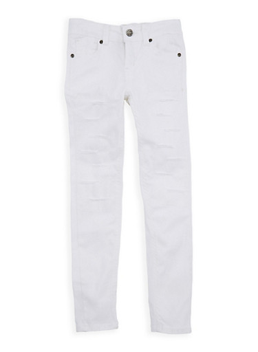 Girls 7-16 White Distressed Skinny Jeans,WHITE,large