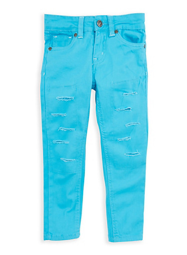 Girls 7-16 Rip and Repair Twill Skinny Pants,TURQUOISE,large