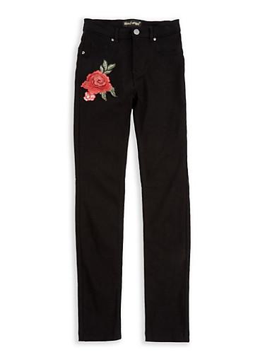 Girls 7-16 Rose Applique Stretch Pants,BLACK,large