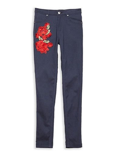Girls 7-16 Denim Knit Rose Patch Pants,INDIGO,large