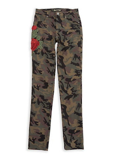 Girls 7-16 Rose Applique Camo Stretch Pants,CAMOUFLAGE,large