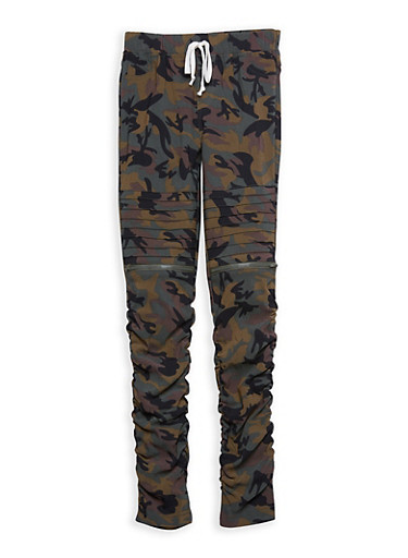 Girls 7-16 Camo Ruched Moto Pants,CAMOUFLAGE,large