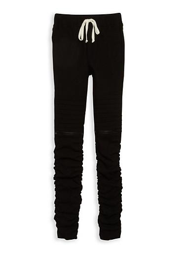 Girls 7-16 Ruched Moto Pants,BLACK,large