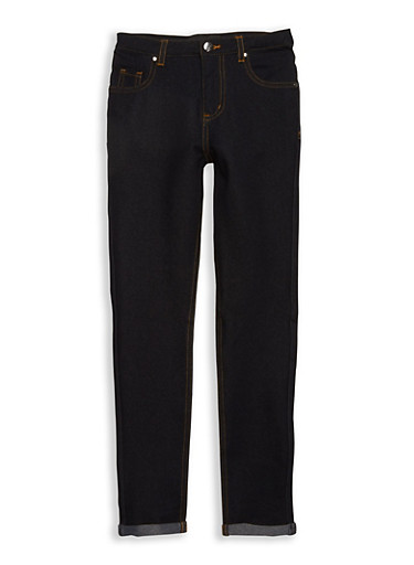 Girls 7-16 Denim Knit Skinny Pants,DENIM,large