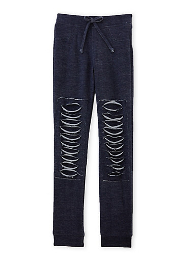 Girls 7-16 Distressed Joggers,NAVY,large