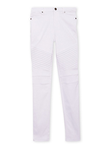 Girls 7-16 Moto Jeggings with Ribbed Knee Panels,WHITE,large