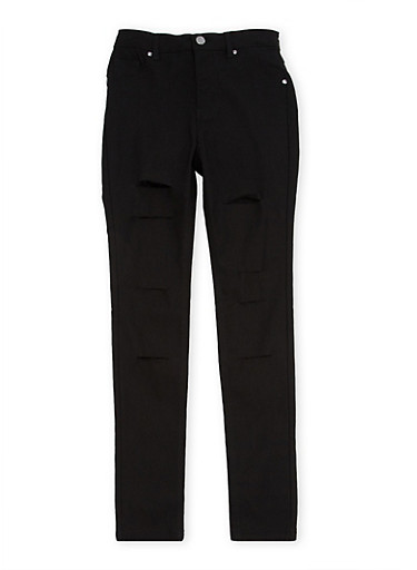 Girls 7-16 Skinny Pants with Slash Cuts,BLACK,large