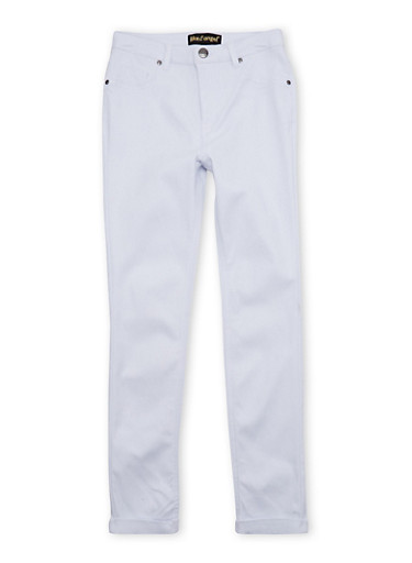 Girls 7-16 Jeggings with Fixed Cuffs,WHITE,large